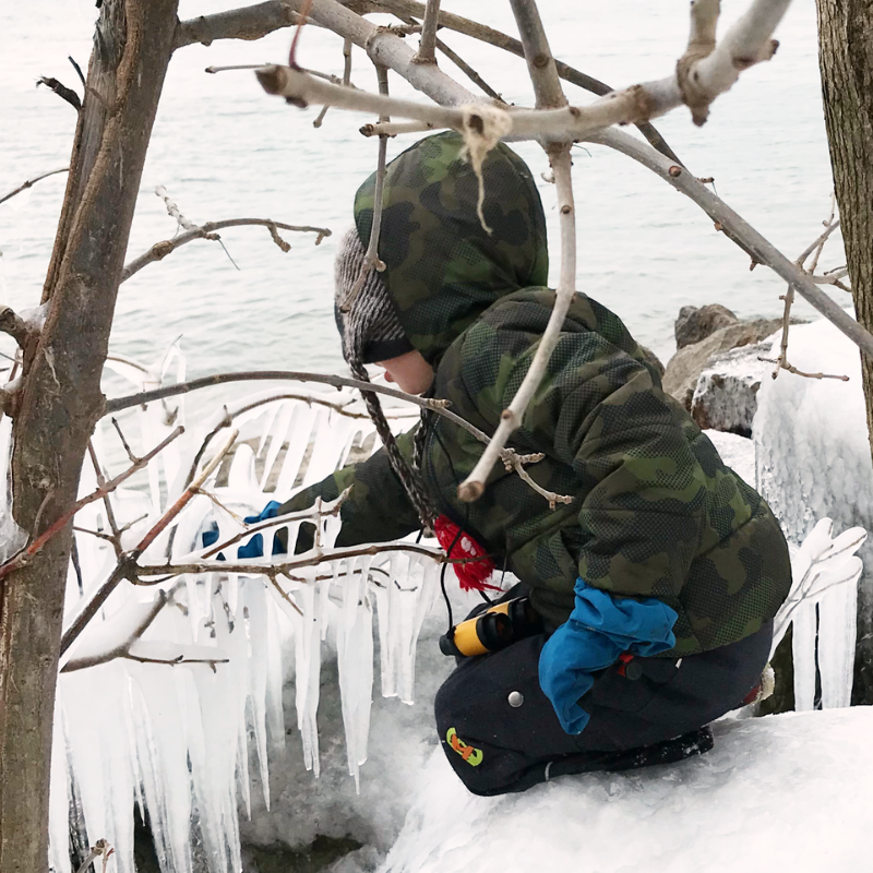 A child breaks an icicle off a rock in a lakeside park during winter outdoor play