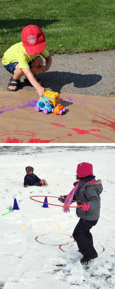 Two photos of toddlers and preschoolers engaging in outdoor play during the summer and winter