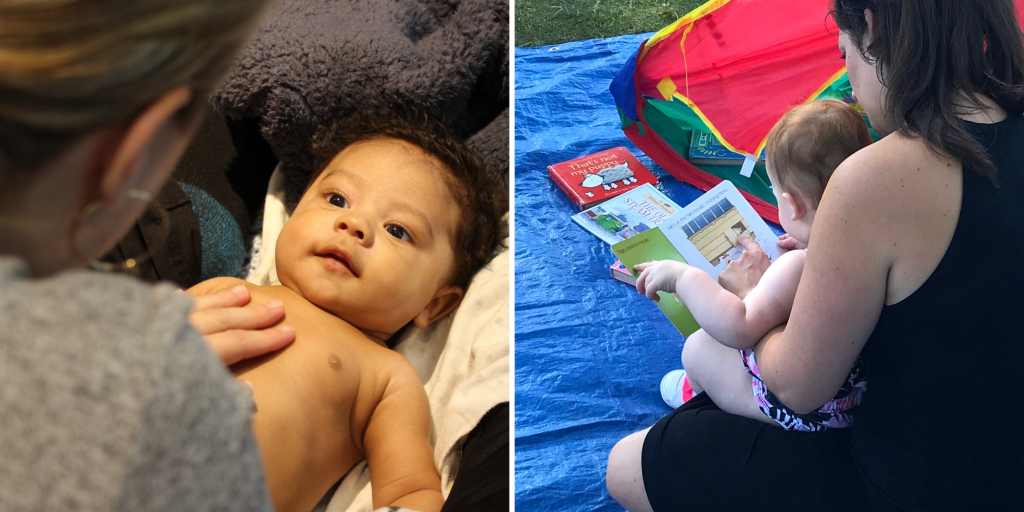 (left) Mother rubs the chest of their infant. (right) mother reading a picture book to their baby during storytelling.