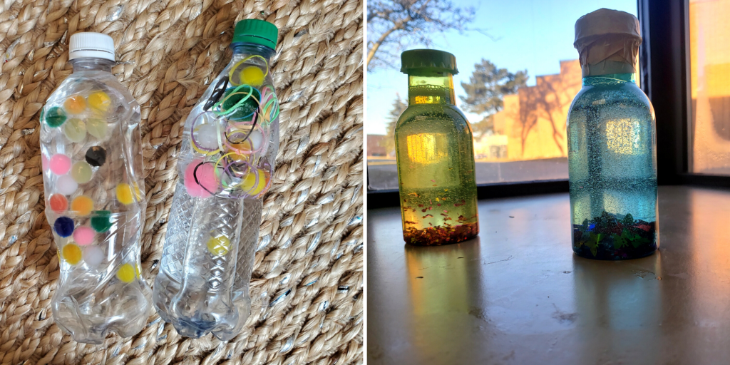 Plastic and reusable water bottles filled with pompoms, elastic bands, sand, and rocks for visual sensory play.