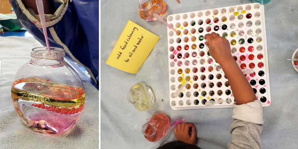 (left) a child makes play lava by dropping coloured oil into a jar of water with a pipette or dropper. (right) a child drops food colouring into wells of oil and water on a tray.