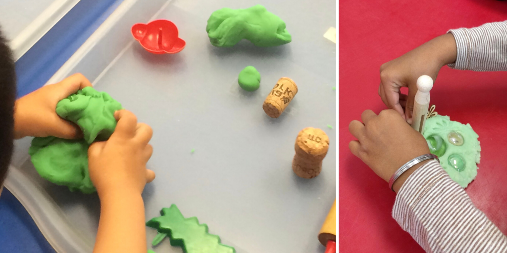 A child sculpts green play dough into different shapes, using a cork to shape the play dough.