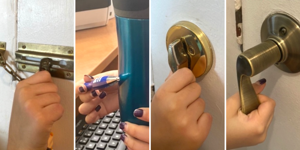 A child explores sound by using the chain lock on a door, tapping a pen on a blue mug, turning a bolt lock, and turning a door handle.
