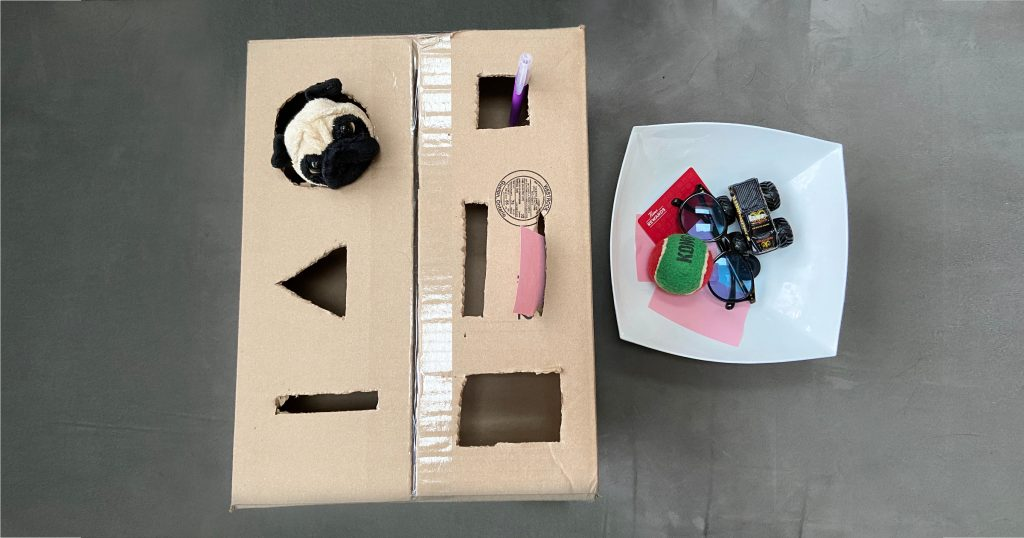 Cardboard box play idea for toddlers and preschoolers that incorporates sorting shapes and toys