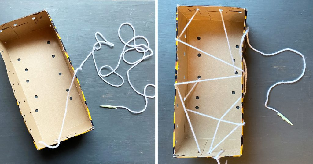 This play idea shows that children can develop fine-motor skills by passing laces through holes in a cardboard box.