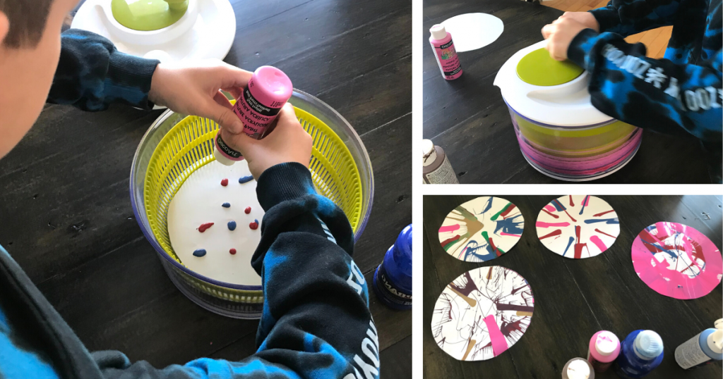 A three photo image showing a child dripping paint onto a round piece of paper and then spinning it in a salad spinner to create art