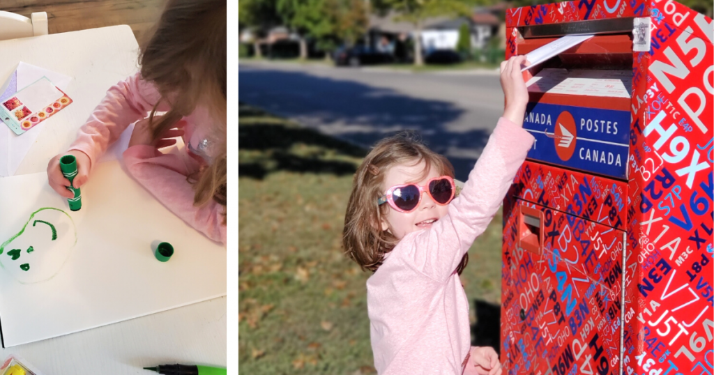 Two photos of a child drawing a picture with marker then placing an envelope in a mailbox to mail her art to a family member