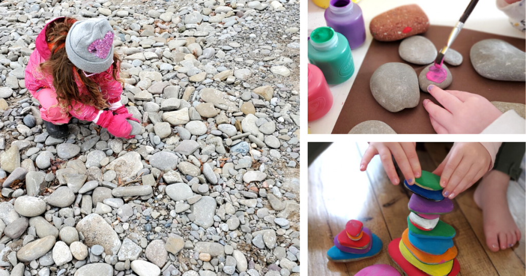 Three photos of a child collecting, painting, and stacking stones from a nature walk activity