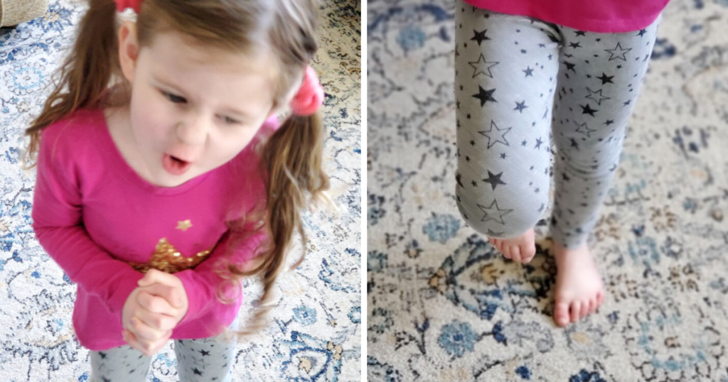 A preschool aged child balances on one foot to practice gross motor skills