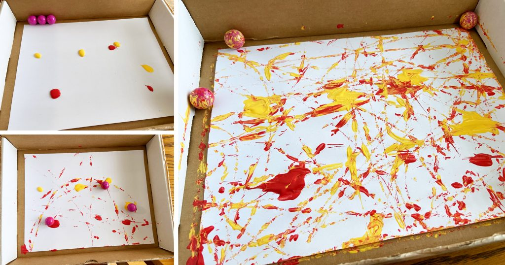 A step-by-step photo showing the process of a painting made by rolling marbles through blobs of paint in a cardboard box