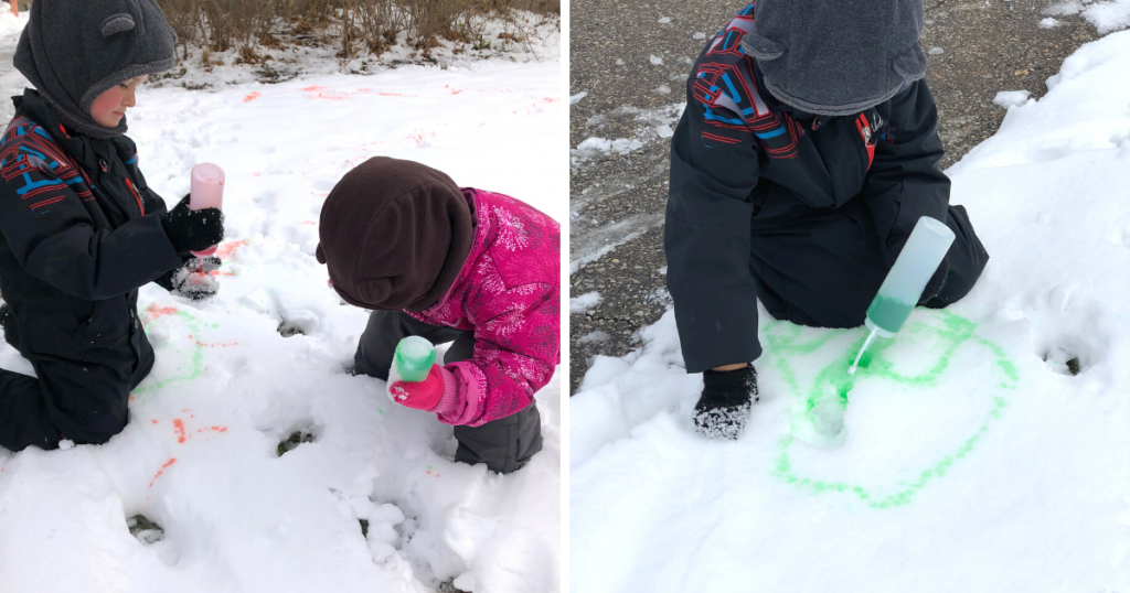 Two photos of children painting in the snow using coloured water in squirt bottles