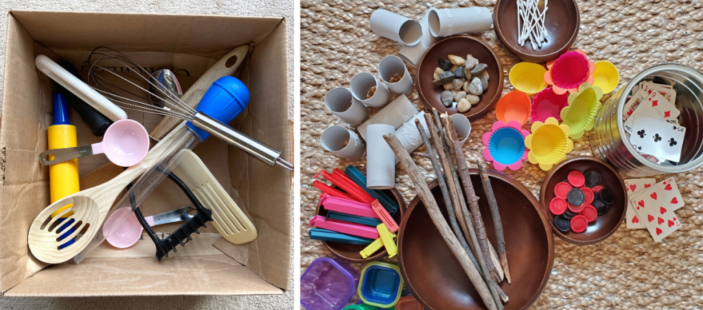 Two pictures with a variety of loose parts for children