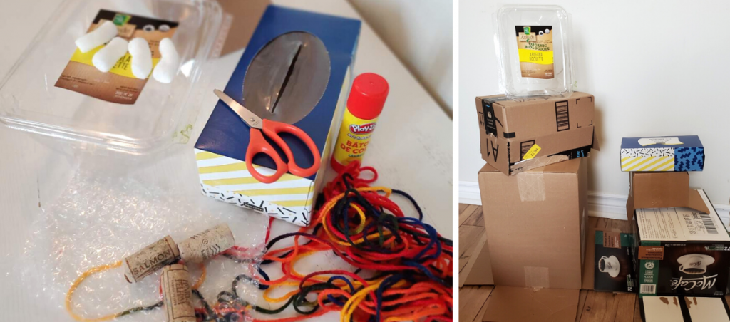 Cardboard boxes, scissors, glue, string, and bubble wrap for art supplies
