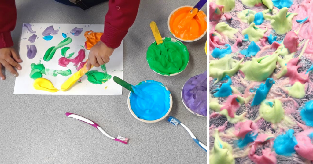 A child creates art using puffy paint, which has been made using glue, shaving cream, and food colouring