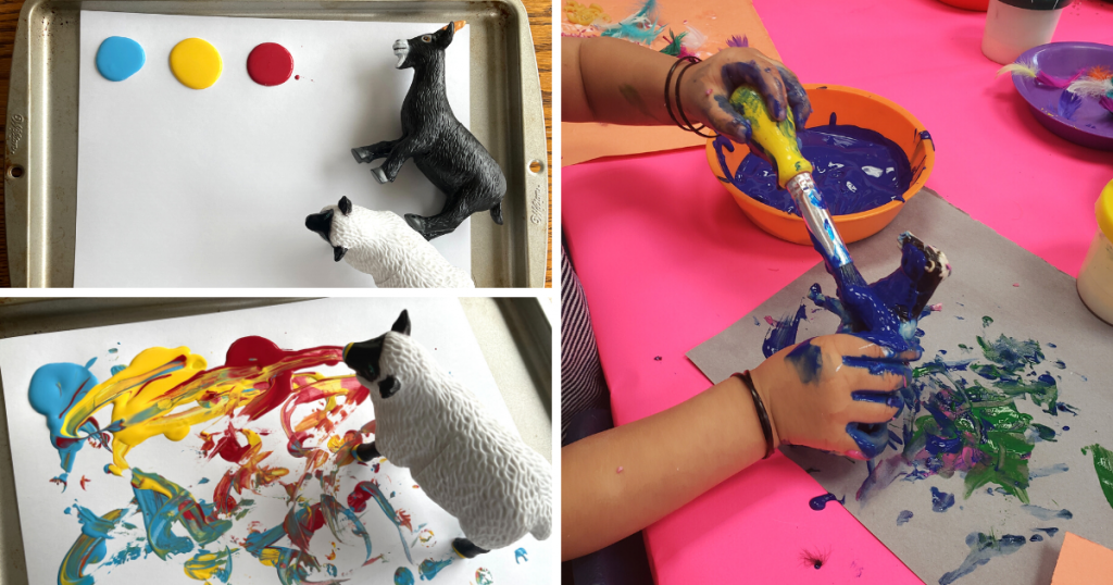 A child paints toys animals with a paint brush and uses the animals to stamp the paint on paper