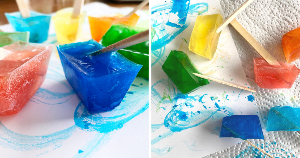 A work of art made by melting paint-filled ice cubes with popsicle stick handles