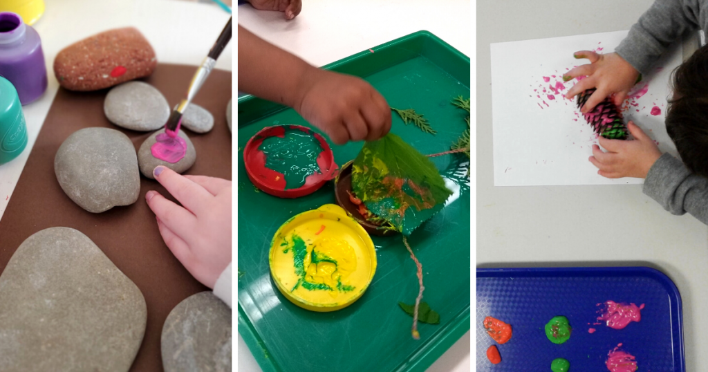 Three photos of a child painting rocks and using leaves and a pinecone as a paintbrush