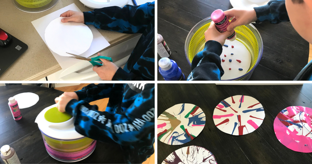 A child cuts a round piece of paper, puts it into a salad spinner with paint, and spins it as a new way to paint