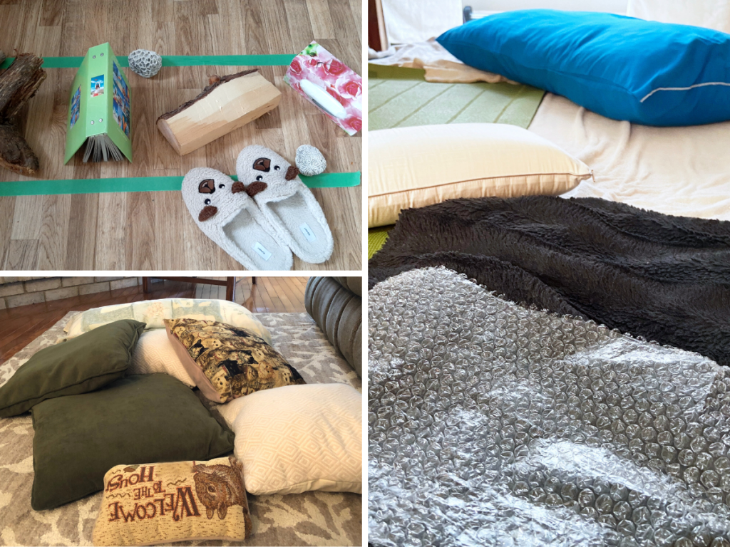 Pillows, blankets, toys and objects are used to make an obstacle course for babies, toddlers, preschoolers and their family.