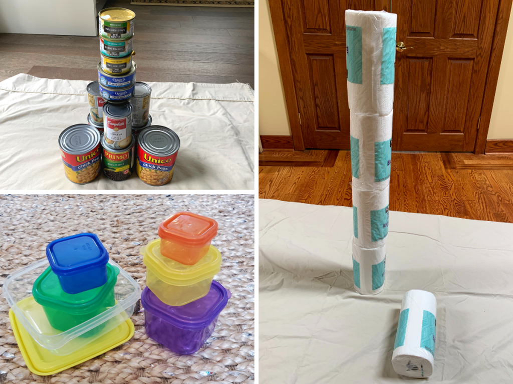 Two found object towers made of food cans, plastic containers, adn paper towel rolls. This easy activity for children only uses the materials you have at home.