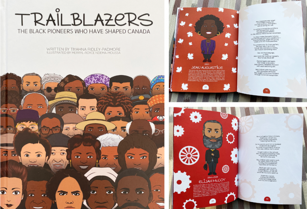 Photos of the Black history children's book Trailblazers: The Black Pioneers Who Have Shaped Canada