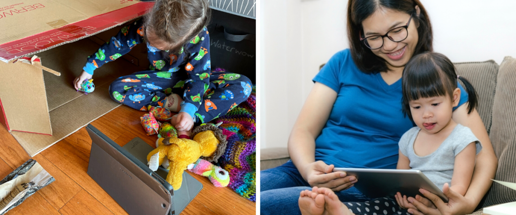 (Left) A preschooler uses an Ipad (Right) A mother and daughter use an Ipad for screen time