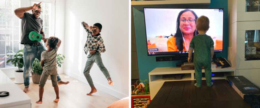 (Left) A black man playing a green ukulele dances with two children (Right) A toddler standing on a table watches TV for screen time