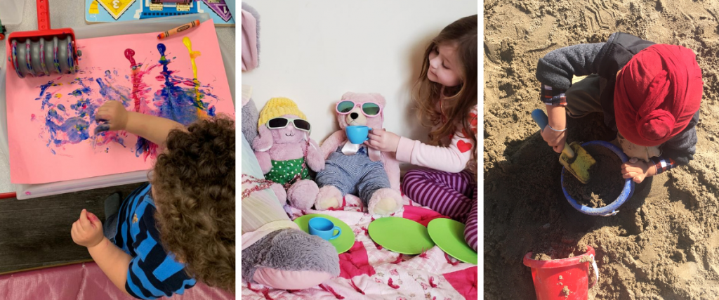 (left) a toddler fingerpaints (middle) a preschooler plays with stuffed bears (right) a child plays with sand and a bucket