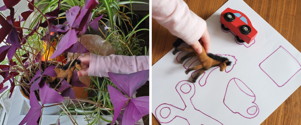 (left) A child's hand reaches for a toy horse in a basket of purple flowers (right) a child's hand places a toy horse on a sheet of paper with drawings and a toy car