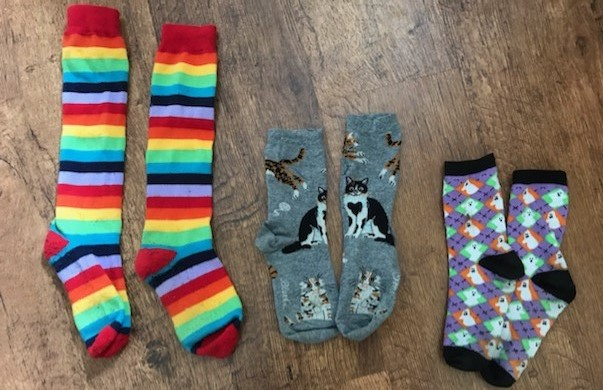3 pairs of matching socks with different patterns
