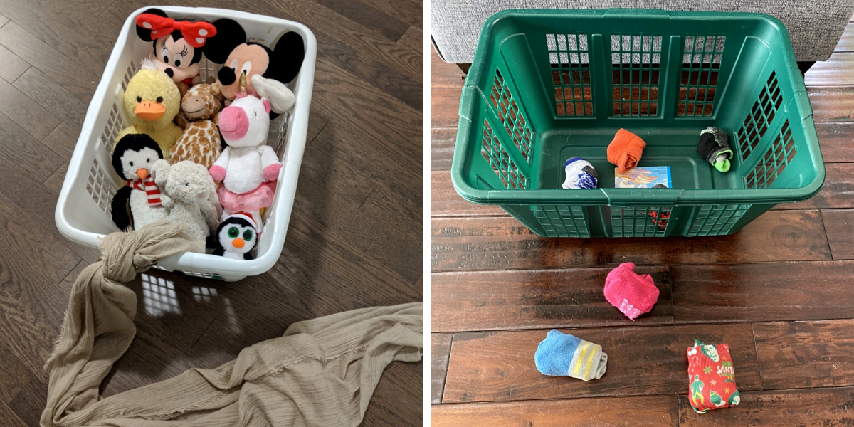 Toys and socks inside a laundry basket for play.