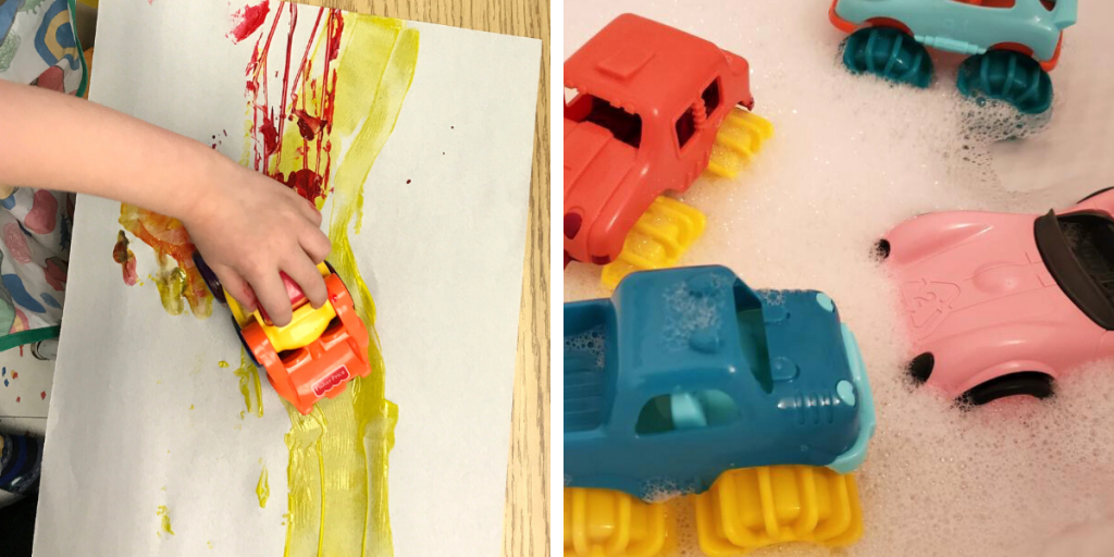 Toy cars are used to paint and in a water sensory bin - showing how one toy can be used for different play ideas