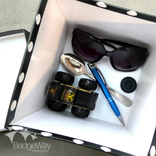 A variety of household objects inside a box for a Mystery Box guessing game.